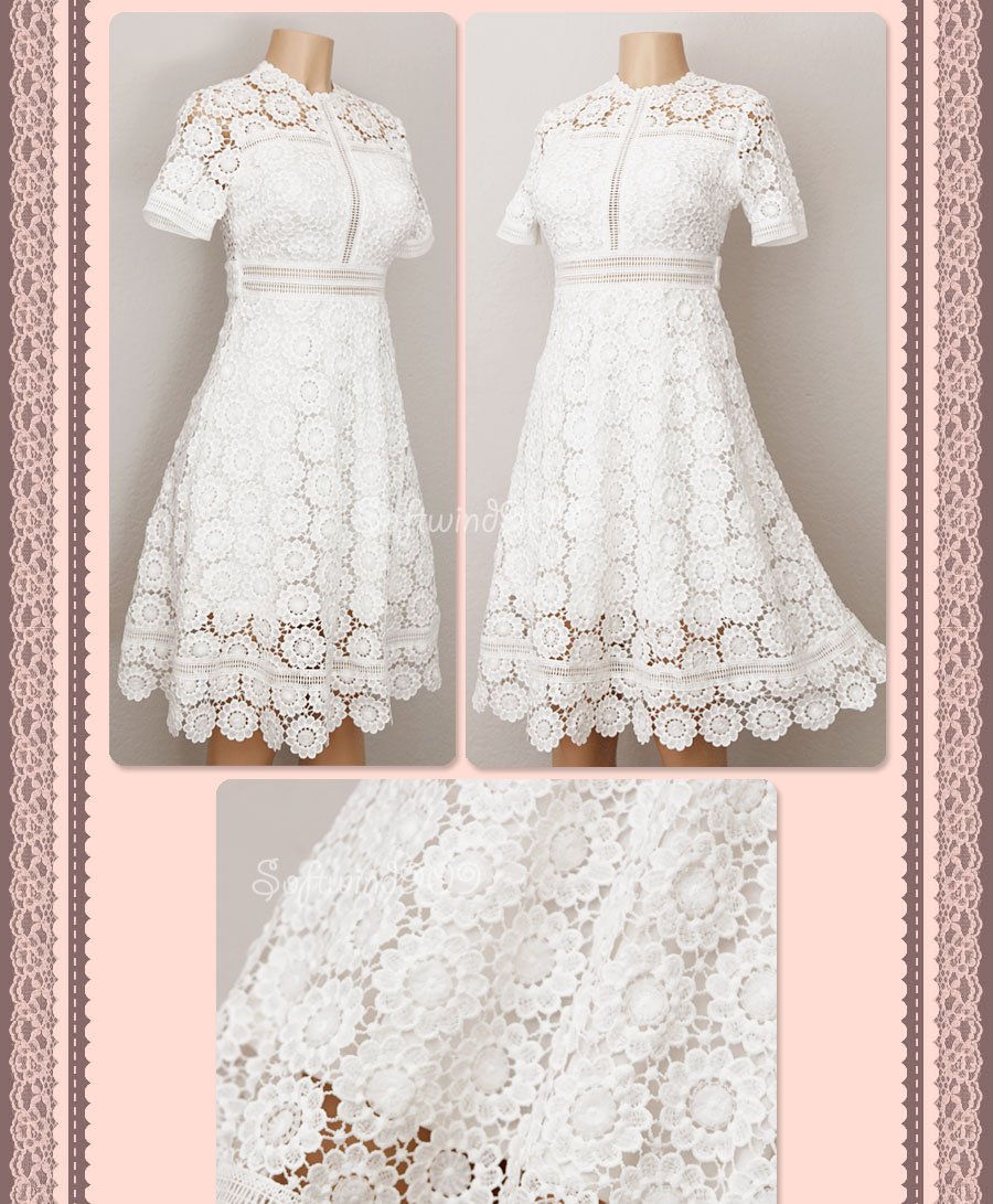 New Forever 21 Ivory Crochet Floral Lace Scallop Edge Cocktail Party