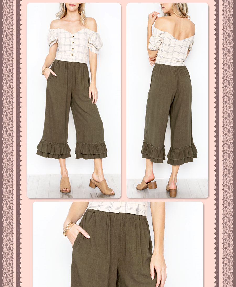 94a591d67505 Details about NEW Olive Green Linen Cotton High Waist Paperbag Ruffle Wide  Crop Culottes Pants